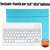 Teclado Bluetooth Español QWERTY Funda ,CoastaCloud Funda Case del Teclado Inalámbrico Magnético Para Cualquier Windows / Android /Apple IOS con 9-10.5 Pulgadas(Tamaño de la tableta adecuada:Min 15x24cm Max 18x26cm) Azul