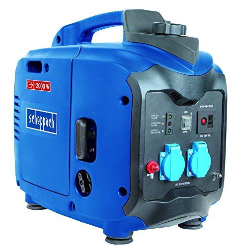 Scheppach Inverter-Stromerzeuger SG2000, Stromgenerator für Haushalt und Elektrowerkzeuge, Notstromaggregat bei Stromausfällen, 4 Takt-Benzinmotor, blau / silber / schwarz, 5906208901