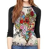 Henrnt T-Shirt Manica a 3/4 Donna Butterfly Flower DIY Drawing Paint Print T-Shirt Casual Crew Neck Tops Tee