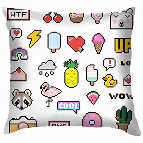 beautiful& Patch Set Pixel 80 90 Style Cotton Linen Home Decorative Throw Pillow Case Cushion Cover for Sofa Couch 18X18 Inch (Cooles Deck Patch)