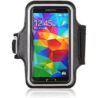 tinxi® Neopren Sport Armband Tasche Armtasche Schutzhülle Etui Case Hülle Handytasche für Samsung Galaxy S4 S5 S6 S6 Edge A5, Alpha, Grand Neo Sport Jogging und Fitnessstudio Schwarz (Geeignet für ≦ 5 zoll)