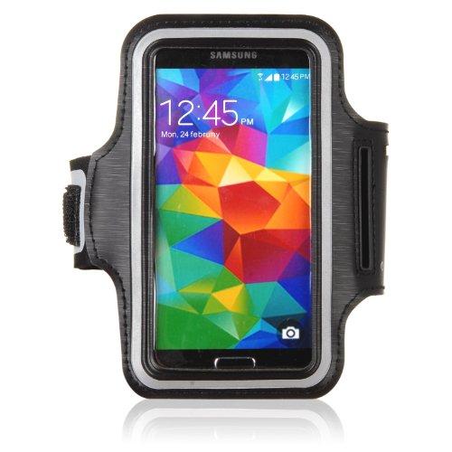 tinxi® Neopren Sport Armband Tasche Armtasche Schutzhülle Etui Case Hülle Handytasche für Samsung Galaxy S4 S5 S6 S6 Edge A5, Alpha, Grand Neo Sport Jogging und Fitnessstudio Schwarz (Geeignet für ≦ 5 zoll) (Neo Sport)
