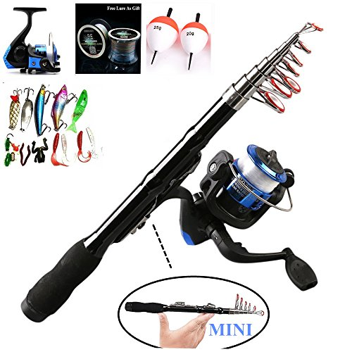 Bntteam 5 Packs 2.3m Mini Teleskop Portable Hand Hart Kohlefaser Meer Angelrute & Reel & Kunstköder & Line Set 99% Carbon Materialien Karpfen Angelrute Combo Portable Hand Hart Kohlefaser Meer Angelrute (Line & Lures & Float Free) (2.3M / 90in )