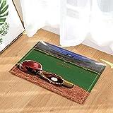 Baseball Sport Decor Un giocatore Hat Guanto e una palla sul campo da bagno Tappeti per bagno Antiscivolo Pavimenti ingressi esterni coperta porta interna Stuoia per bambini Tappetino da bagno50x80cm
