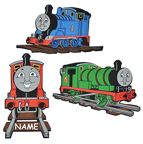 : 3-D Wandbild / Wandtattoo / Türschild - Thomas die Lokomotive incl. Namen - aus Moosgummi - Eisenbahn Lok Wandsticker Wanddeko für Kinderzimmer Ki.. ()