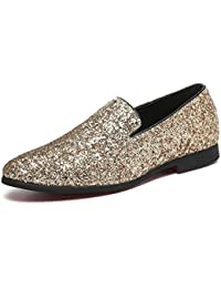 1d30f348ba9e Men Loafer Metallic Textured Slip-on Glitter Fashion Slipper Moccasins  Casual Dress Shoes Santimon Black