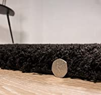 Luxury Super Soft Black Shaggy Rug 7 Sizes Available, by The Rug House
