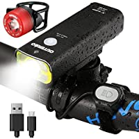 OUTERDO OUTERDOwjaom47JB, Bike Light Set,OUTERDO Wire Control Front Light USB Rechargeable 400 Lumens Sup