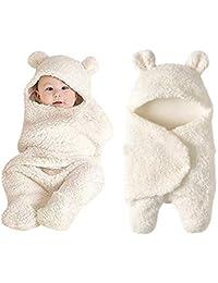 Newborn Baby Sleeping Bag Boys Girls Cute Cotton Plush Receiving Blanket Wrap Swaddle Warm Receiving Blanket Sleep Sack Stroller Wrap for Baby Photography Props Bath Towel (Beige)