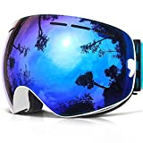 Ski Goggles, COPOZZ G1 Skiing Goggles For Snowboard Jet Snow - For Women Men Ladies Youth Teen - OTG Over Glasses Anti Fog UV Protection Helmet Compatible Interchangeable Lens Sunglasses - White Blue