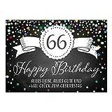 Große XXL Design Glückwunsch-Karte zum 66. Geburtstag mit Umschlag/DIN A4/Tafel-Look Konfetti/Grußkarte/Geburtstagskarte/Happy Birthday
