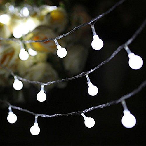 40 LED Globe Ball String Lights, KEEDA Batteriebetrieben Outdoor Weihnachtsschnur Lichter,Gartenleuchten, Fairy Lights für Indoor Christmas Party Dekorationen (Weiß)