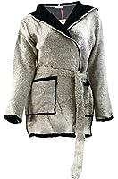#977 Damen langarm long Strick-Jacke warme Srick-Cardigan mit Kapuze 34 36 38 Onesize