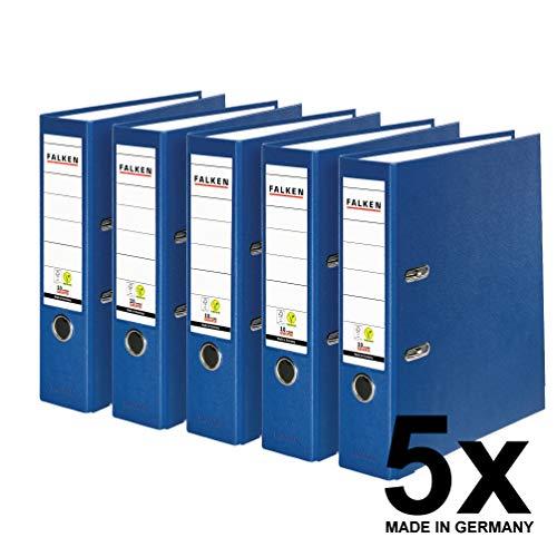 Falken 5er Pack PP-Color Kunststoff-Ordner. Das Original - Made in Germany. 8 cm breit DIN A4 blau Vegan Ringordner Aktenordner Briefordner Büroordner Plastikordner Schlitzordner