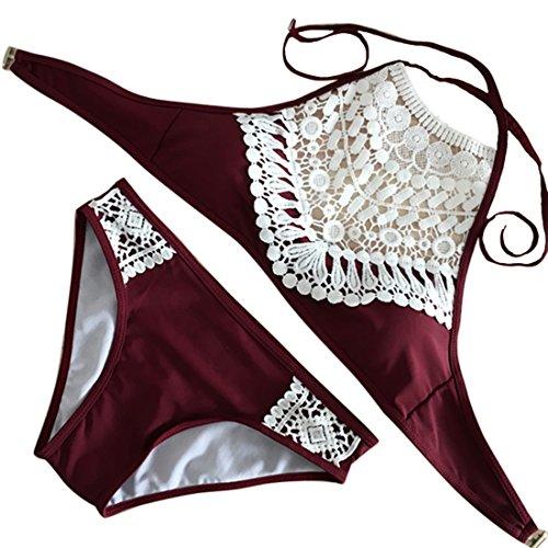 u Bikini Set Badeanzug Push-up BH Lace Splicing Halter Padding Sexy Tank Beachwea Strandmode (M, Rotwein) ()