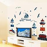 Wandtattoo Mittelmeer Leuchtturm Wandaufkleber Tv Hintergrund Dekoration Schlafzimmer Wohnzimmer Diy Home Decor Pvc Aufkleber Wandbild 190X118