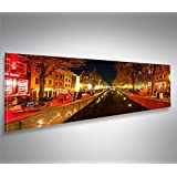 Bild auf Leinwand 120x40cm Red Light V2 Panorama Amsterdam Rotlichtviertel Topseller Kunstdruck von islandburner XXL Poster Leinwandbilder Wandbilder
