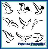 9 verschiedene fliegende Möwen ca. je 15 cm Aufkleber aus Hochleistungsfolie - viele Farben zur Auswahl - Angler Angelboot Sticker Boot Boote Beschriftung Bug Heck Fische Angeln Schlauchboot Nautic See Fischer Fischen