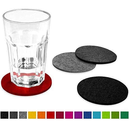 FILU Filzuntersetzer rund 8er Set (rot, hellgrau, dunkelgrau, schwarz) - Untersetzer aus Filz für Tisch und Bar als Glasuntersetzer/Getränkeuntersetzer für Glas und Gläser