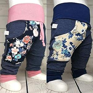 Baby Pumphose mit Tasche Blüten Jeansoptik handmade Puschel-Design