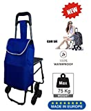 Tavalax Tris Floral Einkaufstrolley & Trolley Gestell Stahl klappbar & Wasserdicht Climb Cart (Blue New)