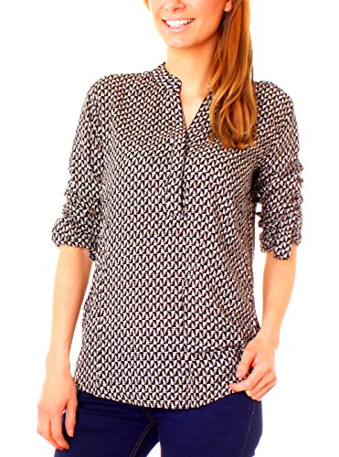 Fragolamoda Damen Boho Tunika Bluse gemustert Graphic schwarz/creme