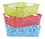 #1: Kurtzy Plastic Storage Basket Boxes Organizer Container Bin For Storing Fruits Vegetables Utensils Kitchen(Assorted)(Set Of 3)