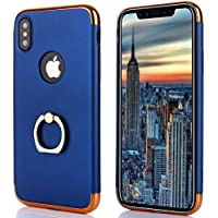 iphone X Hülle 3 in 1 mit Ring und Metall für Magnet Halterung Case Komfort Stütze Stoßfest Kratzfest Handlich für Apple iPhone X/10 Case 5.8''