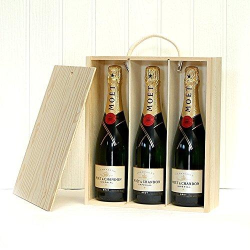 3 Flaschen Moet et Chandon Champagner Geschenk Set - Ein Charmantes Geschenk Zum Geburtstag, Als Danke Schön, Jubiläum, Valentinstag, Muttertag
