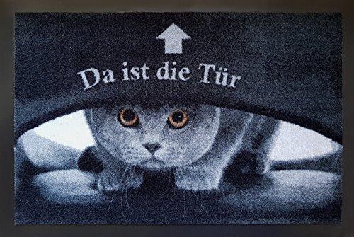 Fußmatte Fußabtreter Fußabstreifer Schmutzmatte Motiv Design Eule Cat Katze Hund Dog OWL (black-sweet) Katze Eule