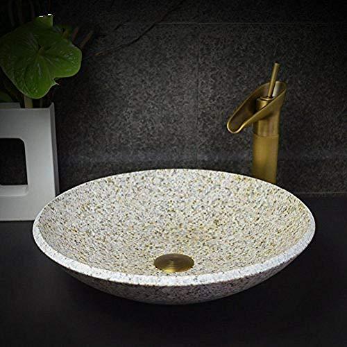 Gorheh Aufsatzwaschbecken Rundes Marmor Art Badezimmerwaschbecken Steinwaschbecken Waschbecken