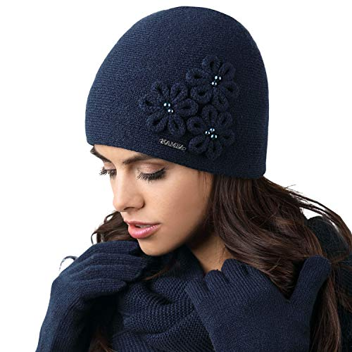 Kamea Corato Dame Mütze Kopfbedeckung Winter Herbst, Dunkelblau,Uni