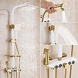 Bijjaladeva Antico Bagno miscelatore Rain Shower tap set doccia a pioggia sistema di rubinettoEuro-rame oro bianco kit doccia completo di rubinetteria in ottone. Bagno doccia Vasca da bagno doccia.