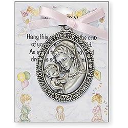 Médaille de berceau avec inscription « Sentiment Words » - Ruban rose - Cadeau pour baby shower, baptême fille