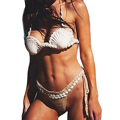 Ziyou Böhmische Frauen Shell handgemachte gestrickte Bandage Bikini Set Bademode BH Badeanzug(M, Khaki) -