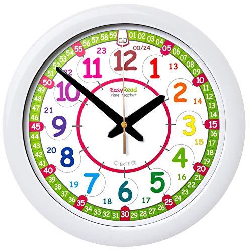 EasyRead Time Teacher Kinder-Wanduhr, die das 12 Stunden Zeitformat und das (digitale) 24 Stunden Zeitformat anzeigt. Es ermöglicht, das Ablesen der digitalen Uhrzeit mit einer analogen Uhr zu erlernen. Einfaches Lehrsystem in zwei Schritten. Durchmesser 29 cm, für Kinder im Alter von fünf bis zwölf Jahren.