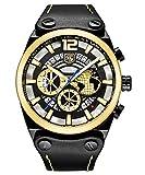 Benyar Herren Big Face Luxus Fashion Wasserdicht Armbanduhr Exquisite Earth Icon Herren Armbanduhr Business Casual Lederband Uhr