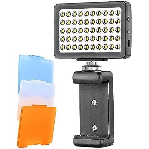 Bestlight® 50 LED 6000K Mini Luz LED de Vídeo Muti-funcional Portátil(con soporte de móvil de 2-3 pulgadas)para iPhone 6s plus/6s 6 plus/6/5s/5/4s/4/Samsung Galaxy S6 Edge/S6/S5/S4/S3/A7/A5, Galaxy Note 4/3/2, Ipad Air/2, Ipad Mini/2, Canon/Nikon/Sony/Olympus/Fujifilm y otras cámaras con zapata flash estándar (Negro)