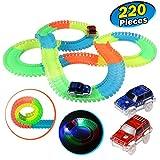 Kuultoy Twister Truck E-Auto Konstruktionsspielzeug Starter Set für Kinder ab 3 Jahren mit Neon Rennbahn für Kreative Rennstrecken 220 Schienenteilen + 2 Leuchtende Autos autorennbahn für Kinder