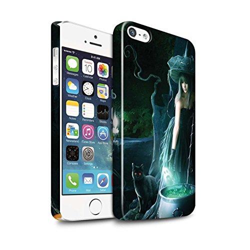 Officiel Elena Dudina Coque / Clipser Brillant Etui pour Apple iPhone SE / Somnambule/Insomnie Design / Magie Noire Collection Sorcière Chaudron