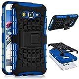 ONEFLOW Samsung Galaxy J5 (2015) | Hülle Silikon Hard-Case Blau Outdoor Back-Cover Extrem Stoßfest Schutzhülle Grip Handyhülle für Samsung Galaxy J5 2015 Case Rückseite Tasche