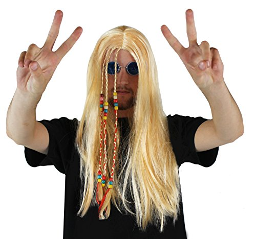 Men's Long Blonde Hippy Wig with beaded plaits. Low price!