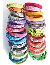 Manzon Neon Printed Rubber Multi-Colour Clip-On Pony Round Hair Band Jewelry For Women (1 Box Have 30 Band)