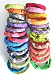 #6: Manzon Neon Printed Rubber Hair Pony Round Band Jewelry For Women - 1 Box (1 Box have 30 Rubber Band)
