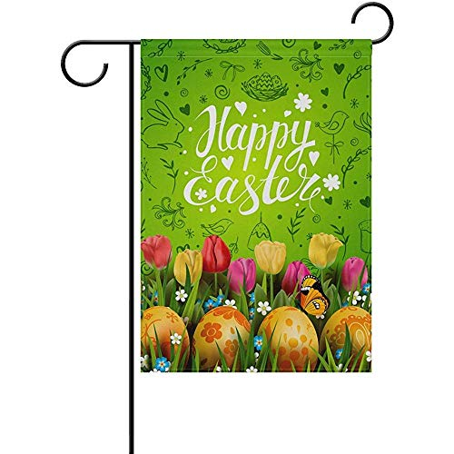 """hdgfjhdfjdf Easter Day Eggs Rabbit Floral Flowers Hello Welcome Spring Garden House Flag Yard Banner for Outside Flower Pot Double Side Print 12"""" x 18"""""""