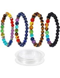 Lictin 4 Pcs Bracelets 7 Chakra de 8 MM, Bracelets Unisexe en Pierre de Lave Perles d'Energie Bracelet Extensible avec 1 Rouleau Corde Blanche Fils à Perler