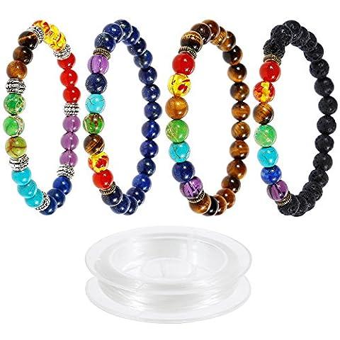Lictin 4 Pcs Bracelets 7 Chakra de 8 MM, Bracelets Unisexe en Pierre de Lave Perles d'Energie Bracelet Extensible avec 1 Rouleau Corde Blanche