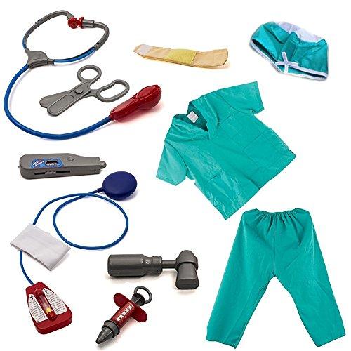 Biback Kinderarzt Dress up Surgeon Kostüm Set und Zubehör Kinder Halloween Cosplay Kleidung - Dr House Kostüm Halloween
