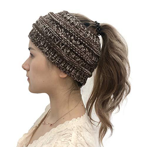 SANNYSIS Frau Winter Gestrickt Stirnband Häkeln Headwrap Crochet Kopfband Haarband Strick Cabel Knit Ohrenschutz Damen mit Zopfmuster, Haarband, Headband Kaffee