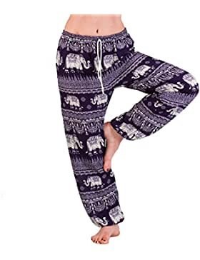 Panasiam Aladdin - Pantalones de verano de viscosa fina natural, apto de S a M, en muchos colores, con 2 bolsillos